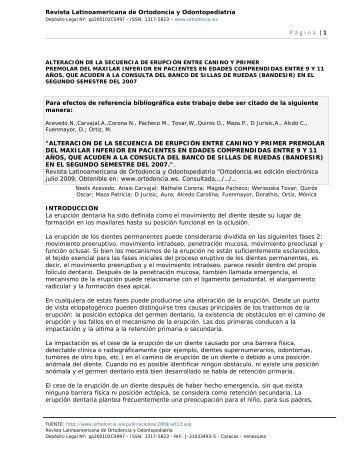 """"""" ALTERACIÓN DE LA SECUENCIA DE ERUPCIÓN ENTRE ..."""