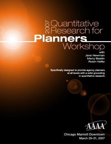 2007 Quantitative Research for Planners - American Association of ...