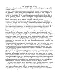 Five Point Peace Plan for Tibet His Holiness the Dalai Lama's ...