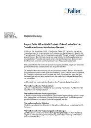 """Medienmitteilung August Faller KG schließt Projekt """"Zukunft schaffen ..."""