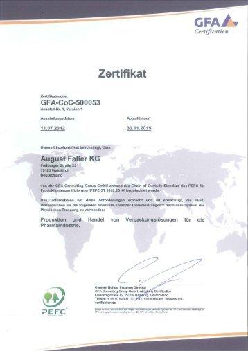 Pefc-Zertifikat - August Faller KG