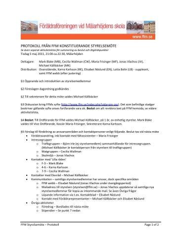 Protokoll från konstituerande styrelsemötet 2011