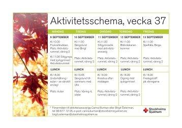 Aktivitetsschema, vecka 37 - Stockholms sjukhem