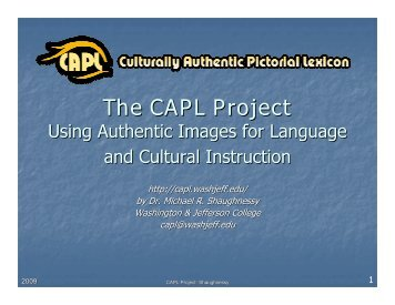 Using CAPL in the Classroom Presentation (pdf) - Culturally ...