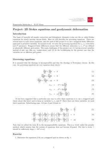 Project: 2D Stokes equations and geodynamic deformation
