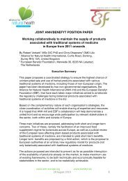 Position Paper - the Alliance for Natural Health