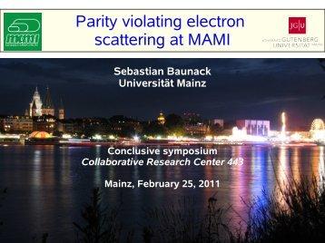 Parity violating Electron Scattering at MAMI