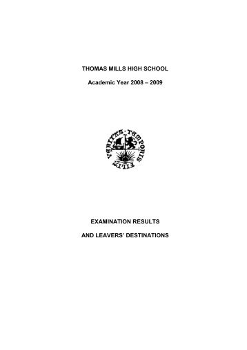 View or download the exam results - Thomas Mills High School