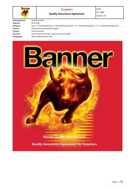 Quality Assurance Agreement - Banner Batteries
