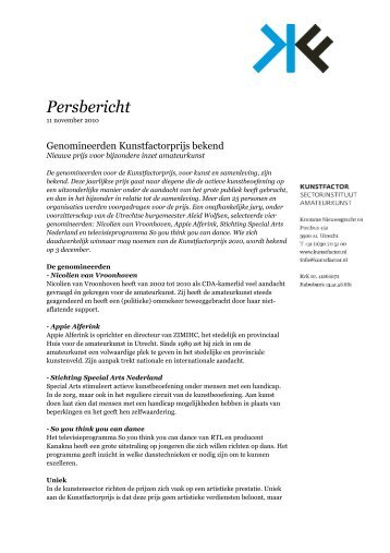 Persbericht - Kunstfactor
