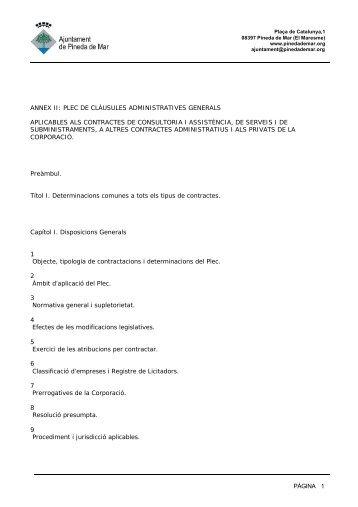 pàgina 1 annex ii: plec de clàusules administratives generals ...