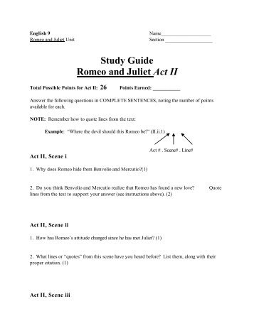 Romeo and Juliet, Study Guide, Shakespeare