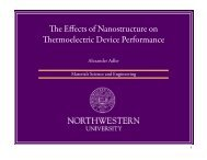 The Effects of Nanostructure on Thermoelectric Device Performance