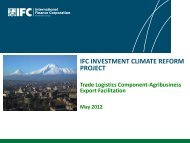 IFC INVESTMENT CLIMATE REFORM PROJECT
