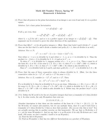 Math 223 Number Theory, Spring '07 Homework 4 Solutions
