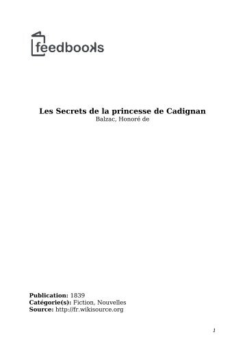 Les Secrets de la princesse de Cadignan - Lecteurs.com