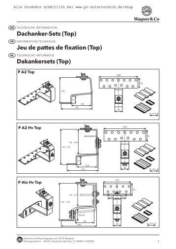 Dachanker-Sets (Top) Jeu de pattes de fixation ... - PV Solartechnik