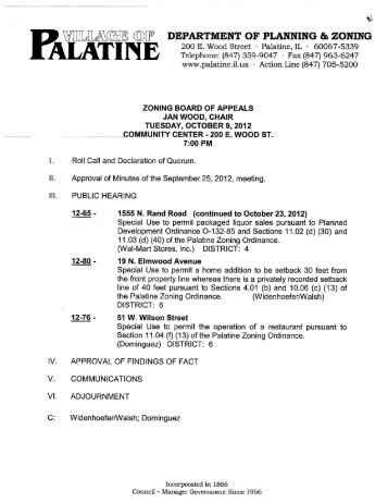 Approval of Minutes of the September 25 2012 ... - Village of Palatine