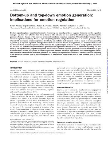 Bottom-up and top-down emotion generation - Social Cognitive ...