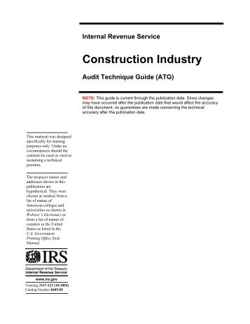Construction Industry - Audit Technique Guide - Uncle Fed's Tax ...