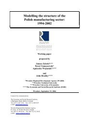 Modelling the structure of the Polish manufacturing sector ... - WARR