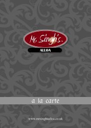 A La Carte Menu - Mr Singh Alloa