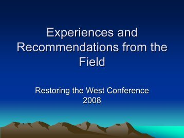 Experiences and Recommendations from the Field - Forestry