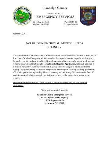 Special Medical Needs Registry Application - Randolph County ...