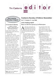 July 2008 issue - Canberra Society of Editors