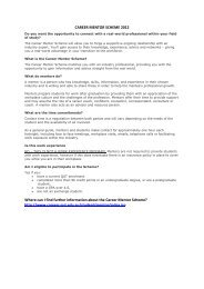 CAREER MENTOR SCHEME 2012 Where can I find further ...