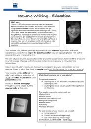 Resume Writing - Education - QUT Careers and Employment