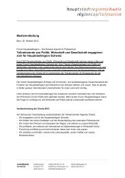 Engagement für Hauptstadtregion - Wirtschaftsraum Bern