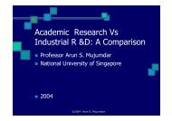 Academic Research Vs Industrial R &D - National University of ...