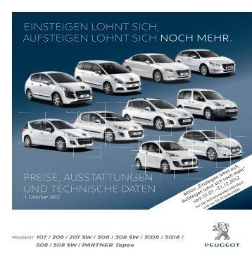 preise, ausstattungen und technische daten einsteigen ... - Peugeot