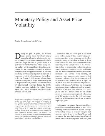 Monetary Policy and Asset Price Volatility - Federal Reserve Bank of ...