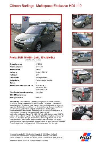 Preis: EUR 15.980,- (inkl. 19% MwSt.) - Autohaus Perras