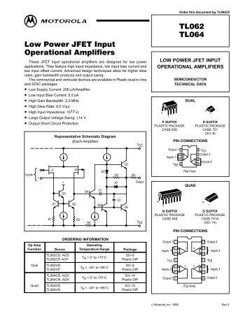 LF411 Low Offset, Low Drift JFET Input Operational Amplifier