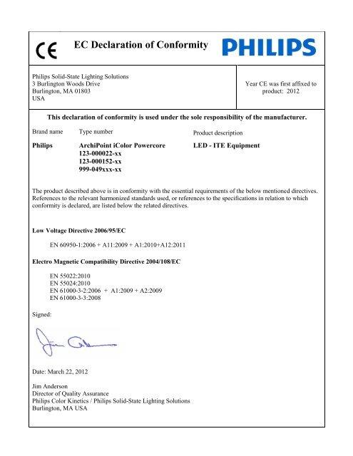 Ec Declaration Of Conformity Philips Lighting Poland