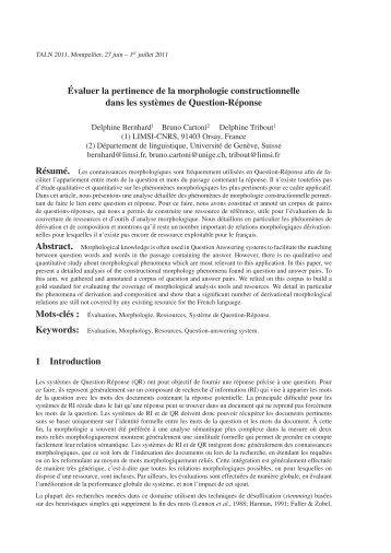vichandran & Hovy (2002) proposent une méthode - Laboratoire de ...