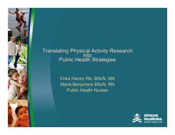 Translating Physical Activity Research into Public Health Strategies