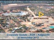 Corporate Update – AGM – Kalgoorlie 23 November 2012
