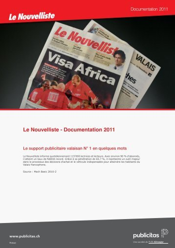 Documentation 2011 - Le Nouvelliste – Publicité Presse Internet ...