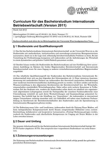Curriculum für das Bachelorstudium Internationale Betriebswirtschaft