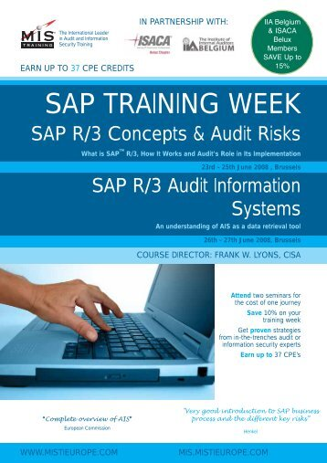 SAP TRAINING WEEK - MIS Training
