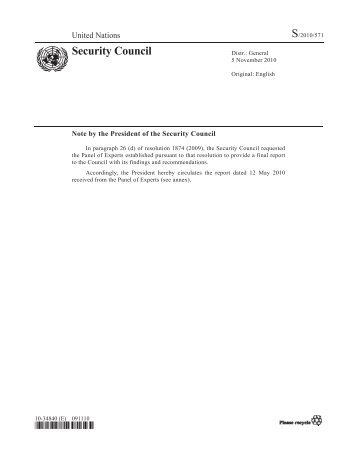Panel of Experts Report (2010) - National Committee on North Korea
