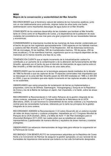 M066 Mejora de la conservación y sostenibilidad del ... - IUCN Portals