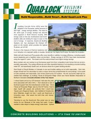 I nsulating Concrete Forms (ICFs) - Quad-Lock Building Systems