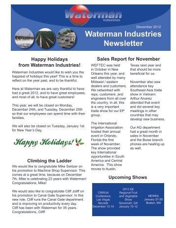 Dec 12- Jan 2013 Newsletter - Waterman Industries