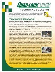 Formwork Preparation - Quad-Lock Building Systems