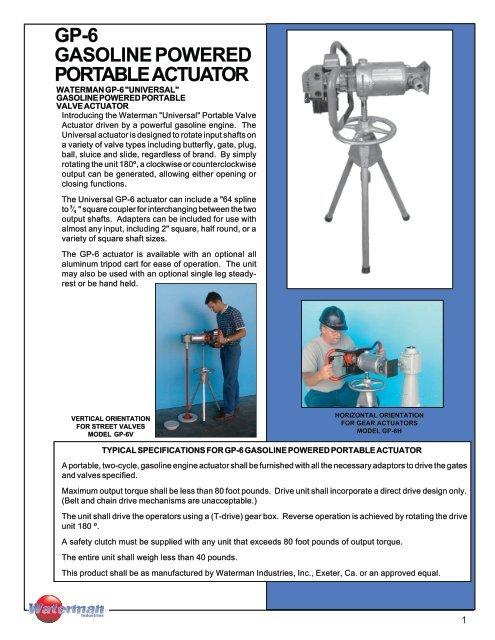 gp-6 gasoline powered portable actuator - Waterman Industries